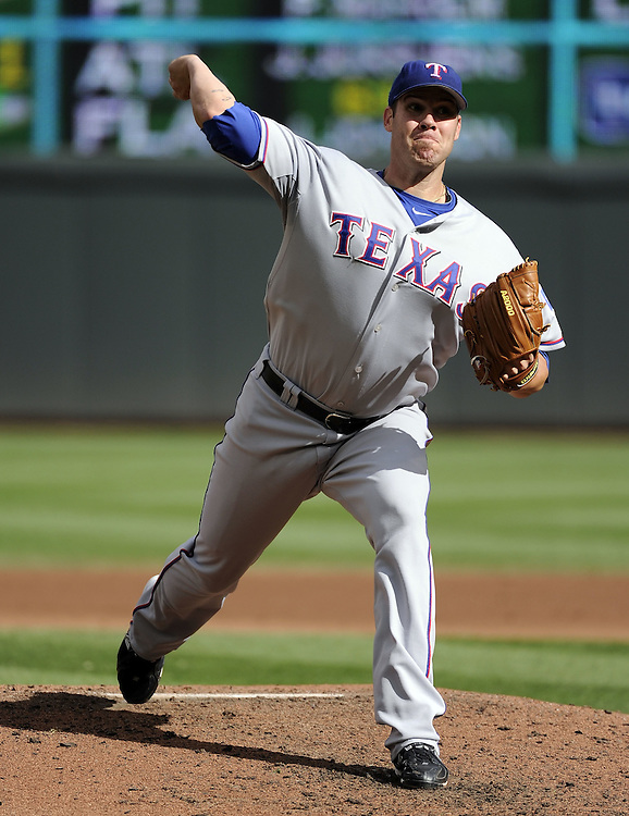 MINNEAPOLIS - SEPTEMBER 04:  Colby Lewis #48 of the Texas Rangers pitches against Minnesota Twins on September 4, 2010 at Target Field in Minneapolis, Minnesota.  The Twins defeated the Rangers 12-4.  (Photo by Ron Vesely)Lewis