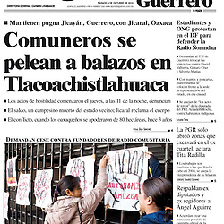Cover photo for La Jornada Guerrero newspaper. October 2010.