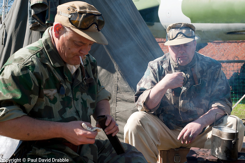 Reenactors from Northern World War Two Association, portraying members of the 1st Fallschirmjaeger Division 'The Green Devils' at Fort Paull<br /> 1 May 2011<br /> Image &copy; Paul David Drabble