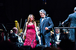 ANAHEIM, CA - JUN 9: Italian tenor Andre Bocelli performed Granada, New York, La Boheme, LaTraviata among others keeping audience mesmerized at the Honda Center in Anaheim, CA. The magical night included producer David Foster on Piano, Violinist Caroline Campbell, American Idol Season 3 winner Soul Singer Fantasia, Cuban Soprano Maria Aleida and Orchestra Conductor Eugene Kohn. Cuban soprano Maria Aleida performs with Italian soprano Andrea Bocelli. All fees must be agreed prior to publication, Byline and/or web usage link must  read  PHOTO: SilvexPhoto.com
