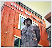 Statue of Vince Lombardi outside Lambeau Field in Green Bay. iPhone photo with Snapseed app. (Sam Lucero photo)