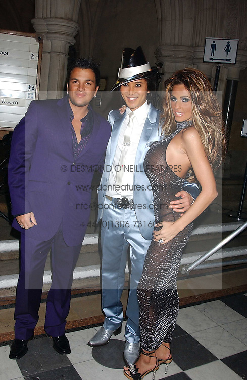 Left to right, PETER ANDRE, ANDY WONG and JORDANat Andy &amp; Patti Wong's annual Chinese New Year party, this year celebrating the year of the dog held at The Royal Courts of Justice, The Strand, London WC2 on 28th January 2006.<br />