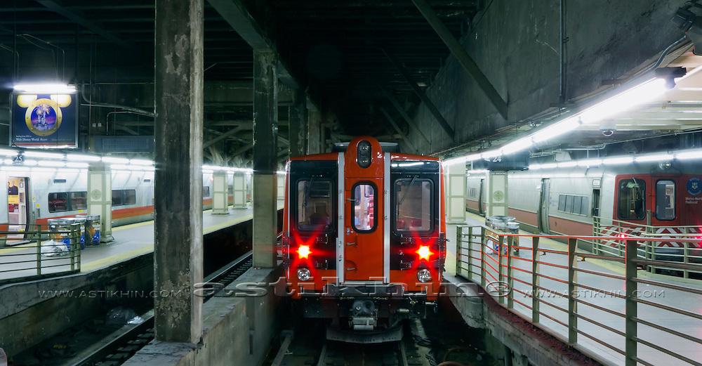 Train station platform, New York City, Manhattan, New York.