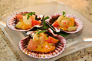 Oyamel's Ceviche de cayo de hacha con limon y chile, Bay scallops with key lime, powdered ancho chile, blood orange and Siembra Azul blanco tequila.