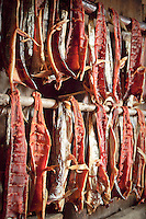 Mine: Salmon strips dry at a fish camp near Kwethluk, Alaska. Dried, smoked, and fresh salmon are staples of the subsistence lifestyle.