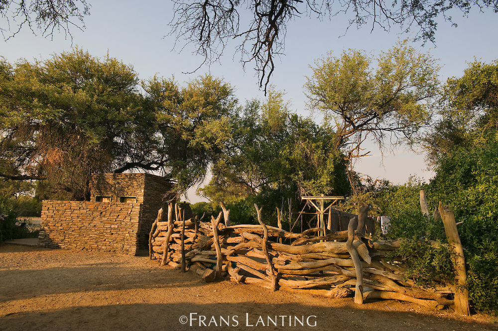 Rock wall and fencing, Puros Bush Lodge, Puros Conservancy, Damaraland, Namibia