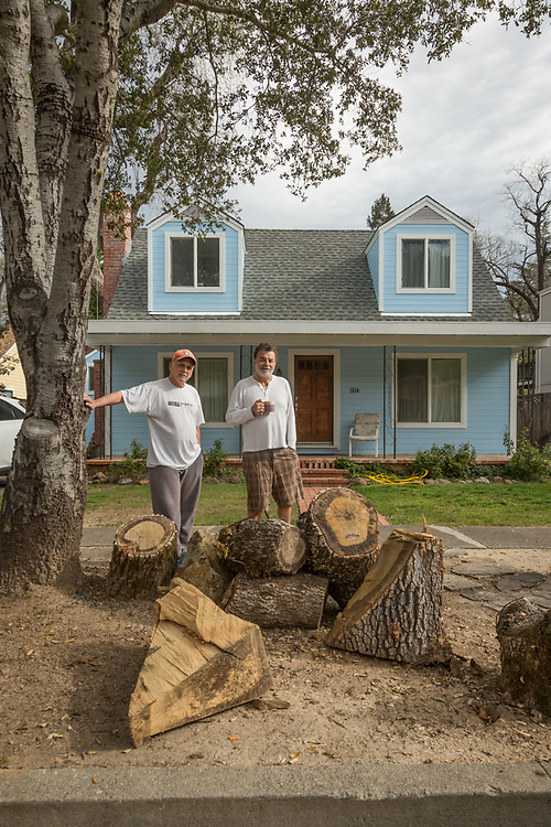 """""""We have one more tree to cut down...it has a giant split and could come crashing down any moment.""""  Al Consilio and San Francisco school teacher Frank Kanios stand in front of the house they co-own on Myrtle Street in Calistoga"""