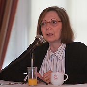Ronnie Lowenstein, Director of the New York City Independent Budget Office provides her take on the economy during a panel discussion at the Manhattan Chamber of Commerce Annual Economic Outlook Breakfast was held at the New York Athletic Club in New York on April 4, 2011. The breakfast was sponsored by Wells Fargo.