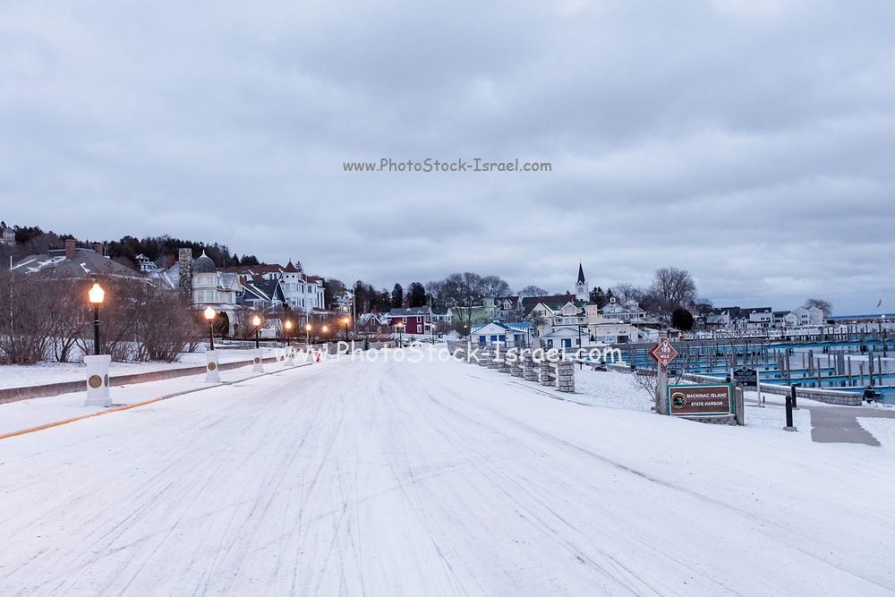 Mackinac Island is a city in Mackinac County in the U.S. state of Michigan. Photographed in the winter with snow