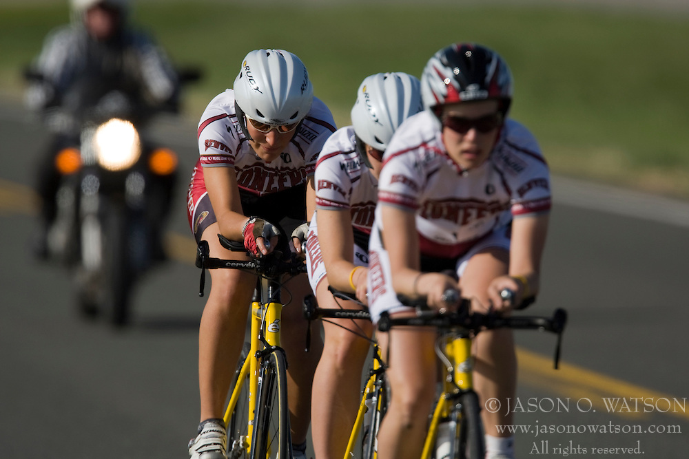 The University of Denver team of Dana Perkins, Katie Ronsse, and Amy Secor competes in the women's division 2 race.  The 2008 USA Cycling Collegiate National Championships Team Time Trial event was held near Wellington, CO on May 9, 2008.  Teams of 3 or 4 riders raced over a 20km out and back course that ran along a service road to Interstate 25.