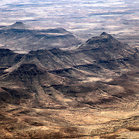 Africa, Namibia, Damaraland. The wild landscape of The Brandberg in Damaraland as seen from above.