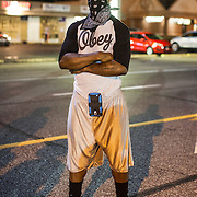 A protestor during continued demonstrations in Ferguson, Mo. on August 19th, 2014. (Samuel Corum/Legion Photo)