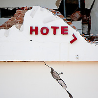 Padang, Western Sumatra, Indonesia, 7th October 2009:?The remains of the front of the Ambacang Hotel in Padang which was destroyed following a devastating earthquake in Western Sumatra that claimed the lives of an estimated 2000 people.?Photo: Joseph Feil