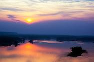 Hazy Humid Mississippi River Sunset