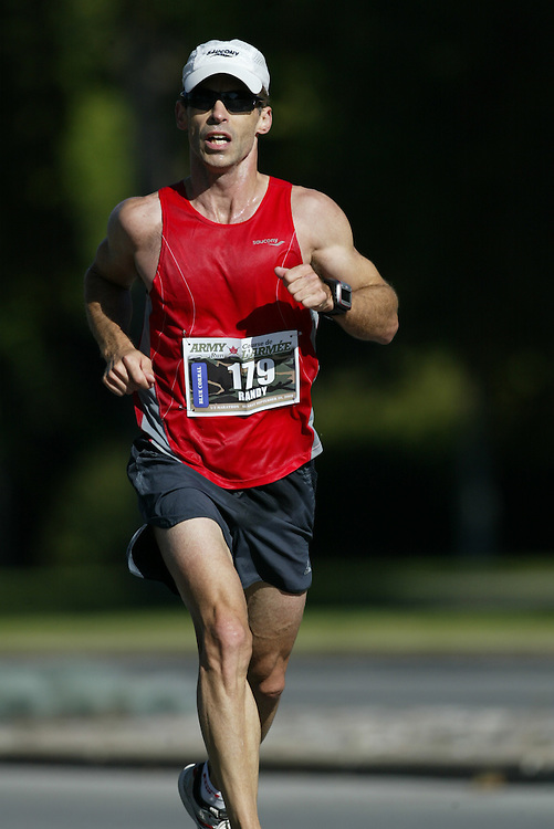 "(Ottawa, Ontario -- 20 Sep 2009) RANDY FONTAINE of Ottawa competing in the Army Run half-marathon in Ottawa. [Photo credit should read ""Sean Burges / Mundo Sport Images""]"