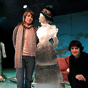 "Cindy Jeffers (L) and Meredith Finkelstein (R) on stage with the robots they created for the play ""Heddatron"", HERE Arts Center, NYC, 2/24/06."
