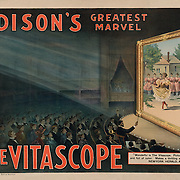 Vintage Illustration:  Edison's greatest marvel--The Vitascope. poster: lithograph New York: Metropolitan Print Company, c1896.