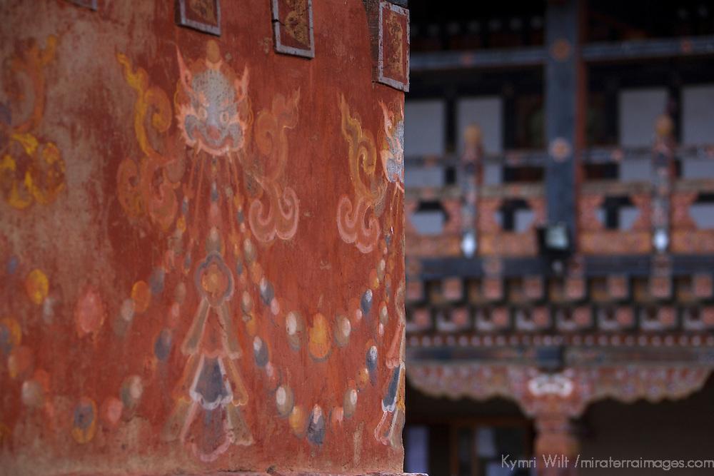 Asia, Bhutan, Trongsa. Architectural Detail at Trongsa Dzong.