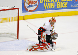April 28, 2007; East Rutherford, NJ, USA; Ottawa Senators goalie Ray Emery (1) makes a save during the first period of game two of the 2007 NHL Eastern Conference semi-finals at Continental Airlines Arena in East Rutherford, NJ.