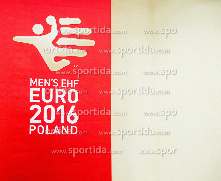Logo in Press conference room on Day 1 of Men's EHF EURO 2016, on January 15, 2016 in Centennial Hall, Wroclaw, Poland. Photo by Vid Ponikvar / Sportida