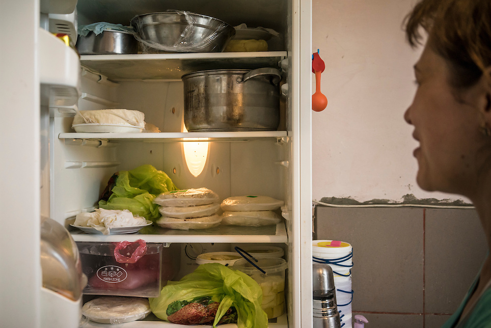 Olga Anisimova, 33, who fled from Yalta on the Crimean peninsula, shows a refrigerator full of home-made cheese on Tuesday, April 28, 2015 in Dubliany, Ukraine. The Russian takeover of Crimea forced Anisimova and her family to flee to Lviv, where she has started a business selling home-made fresh cheese, though her hope is to move to Slovakia. CREDIT: Brendan Hoffman/Prime for the Wall Street Journal UKRMIGRATION