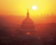 United States Capitol aerial at sunset, Washington DC, District of Columbia, designed by William Thornton, USA