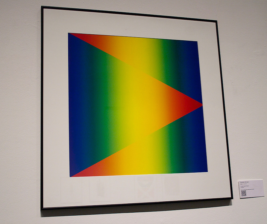 Getulio Alviani       <br /> Italian (Udine, 1939)<br /> &ldquo;Cromia Spettrologica&rdquo;<br /> screenprint<br /> <br /> Getulio Alviani, became involved with experiments in visual perception and psychology while still in his late teens.  Collaborating with industrial designers during 1959 and 1960, he created polished aluminum surfaces that appeared to be in a state of constant vibration.  This work attracted international attention, and he began participating with artists pursuing similar investigations, including Alberto Biasi, Gerhard Richter, and Francois Morellet in the Paris studio of Groupe de Recherche d&rsquo;Art Visuelle.  In the 1960s, Alviani created installations for the Venice Biennale and Documenta, and was included in MoMA&rsquo;s &ldquo;The Responsive Eye,&rdquo; one of the earliest and most significant exhibitions of Op and Kinetic art.  In the 1970s he became director of the Jesus Soto Museum of Modern Art in Ciudad Bolivar, Venezuela.  Throughout the subsequent decades he has continued a schedule of constant international exhibitions in major international museums and biennials.  &ldquo;Chromia Spettrologica&rdquo; belongs to one of his most admired series, in  which he investigated primary color interactions. <br /> <br /> <br /> http://www.memphis.edu/amum/exhibitions/getulio.alviani.php