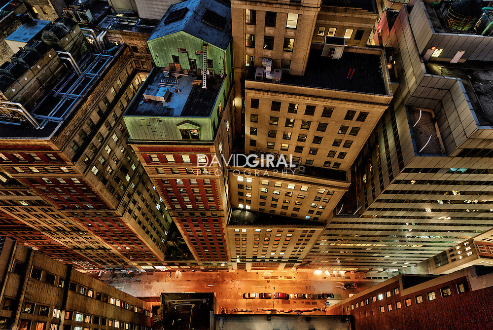 architecture Photography New York City | Vertigo | New Street at night | Financial District, Manhattan, NYC, USA