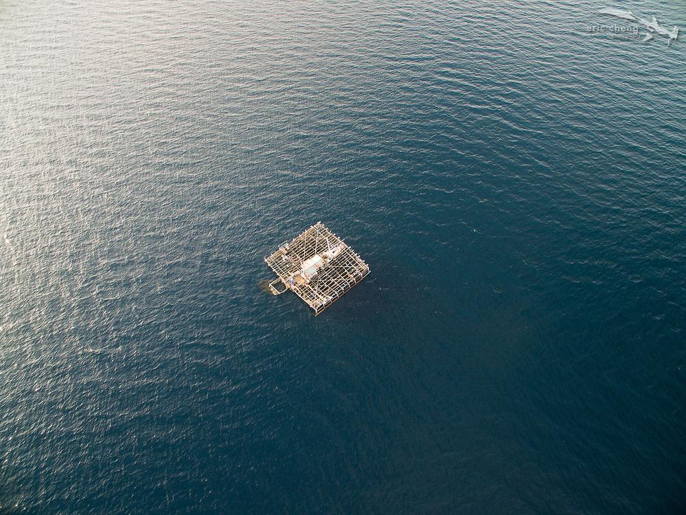 A bagan, an Indonesia fishing platform, at Kwatisore village, Cenderawasih Bay, Western Papua, Indonesia.