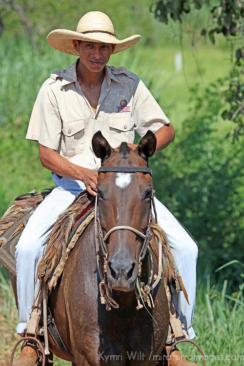 South America, Brazil, Pantanal. The cowboy of the Pantanal, a Pantaneiro, a Caiman Ecological Reserve.