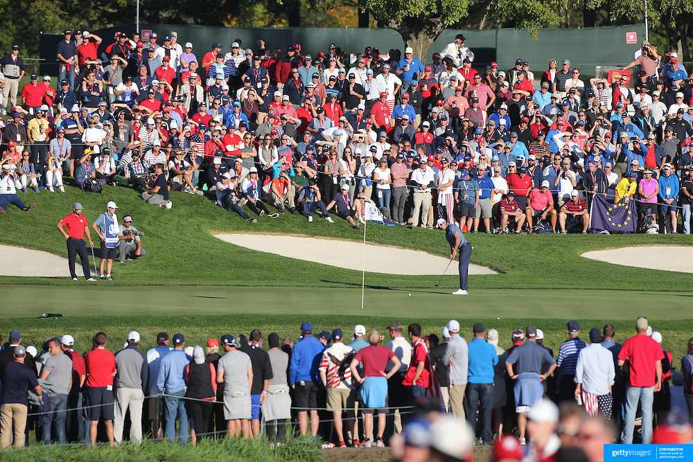 Ryder Cup 2016. Day One.  Rafa Cabrera Bello of Europe putting on the sixteenth hole in the Friday afternoon four-ball competition during the Ryder Cup at  Hazeltine National Golf Club on September 30, 2016 in Chaska, Minnesota.  (Photo by Tim Clayton/Corbis via Getty Images)