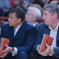 06 October 2010: Assistant coaches Reggie Theus and Bill Laimbeer are seen during the Minnesota Timberwolves 106-100 victory over the New York Knicks, during 2010 NBA Europe Live, at the POPB Arena in Paris, France.