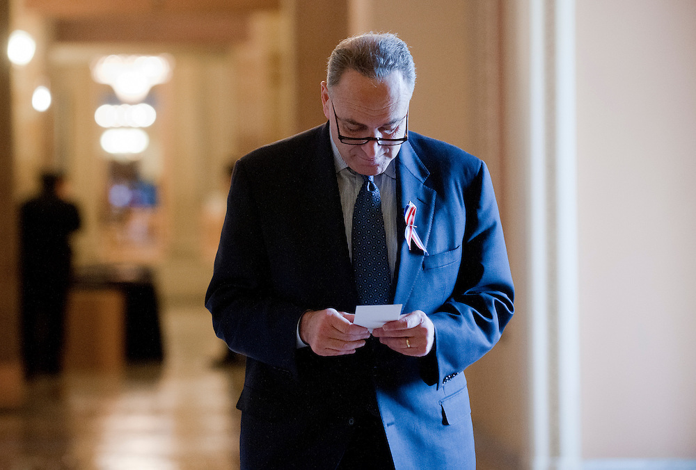 Dec 20, 2010 - Washington, District of Columbia, U.S. -  Senator CHUCK SCHUMER (D-NY) walks through the Capitol Monday as senators prepare for an exectutive session to discuss some of the classified details of the New START treaty which is being debated in the Senate. (Credit Image: © Pete Marovich/ZUMA Press)