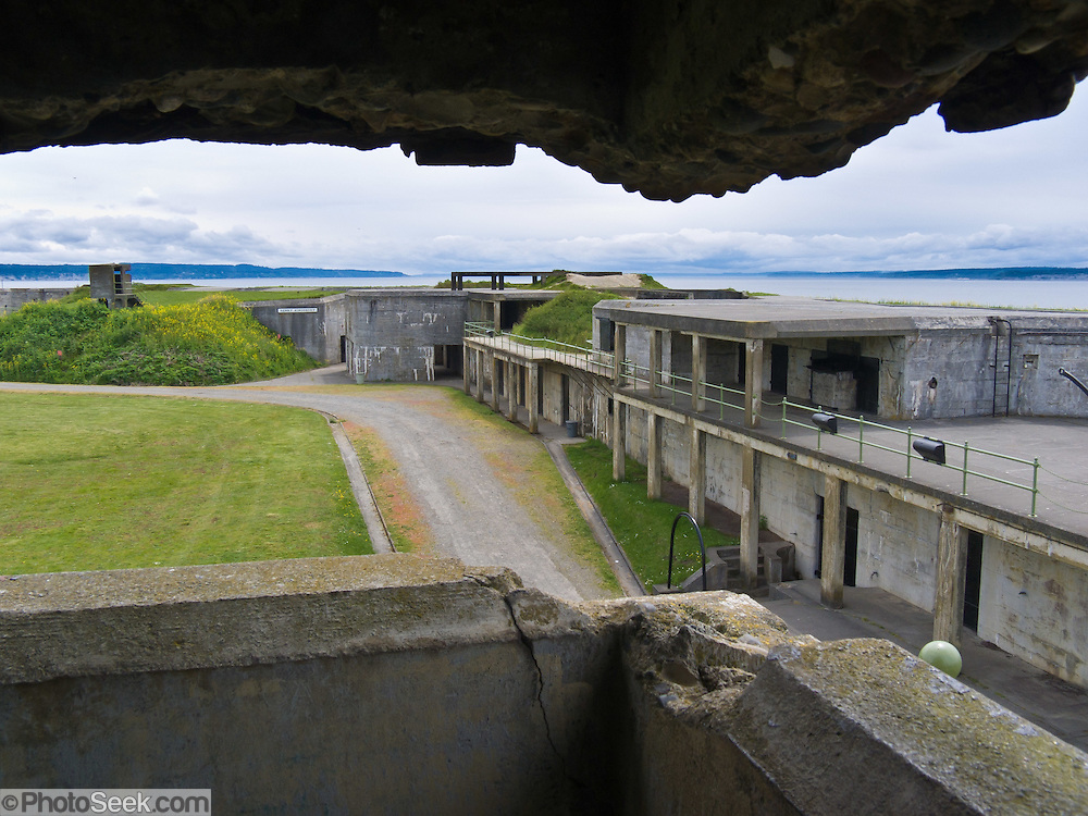 """Fort Casey was one of three forts (including Fort Worden and Fort Flagler) built in the late 1890's to guard Admiralty Inlet with a """"Triangle of Fire"""", protecting Puget Sound ports. The United States used the fort heavily for World War I training, but never in actual combat. All armaments were scrapped for other purposes by 1945. Fort Casey State Park, Ebey's Landing National Historical Reserve, Whidbey Island, Washington, USA."""
