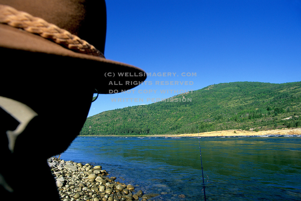 Image of flyfishing on the Columbia River in Boundary, Washington, Pacific Northwest, model released