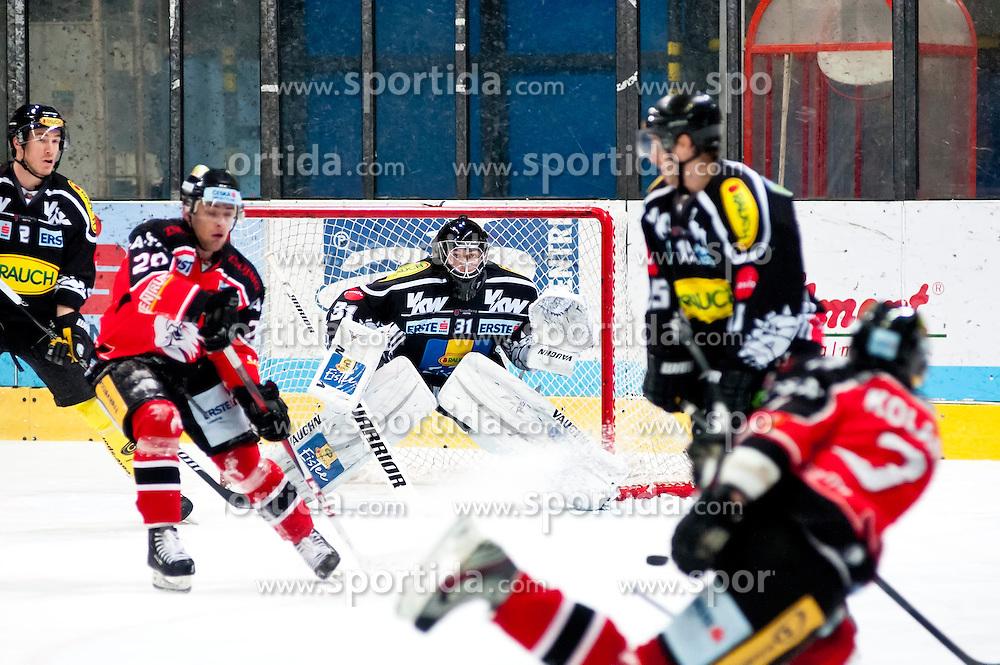 20.12.2013, Hostan Arena, Zneim, CZE, EBEL, HC Orli Znojmo vs Dornbirner EC, 55. Runde, im Bild David Madlener (Dornbirner #31) // David Madlener (Dornbirner #31) during the Erste Bank Icehockey League 55th round match between HC Orli Znojmo and Dornbirner EC at the Hostan Arena in Zneim, Czech Republic on 2013/12/20. EXPA Pictures © 2013, PhotoCredit: EXPA/ Rostislav Pfeffer