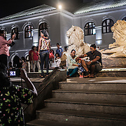 Local tourists visit the renovated historic center of the capital, Colombo