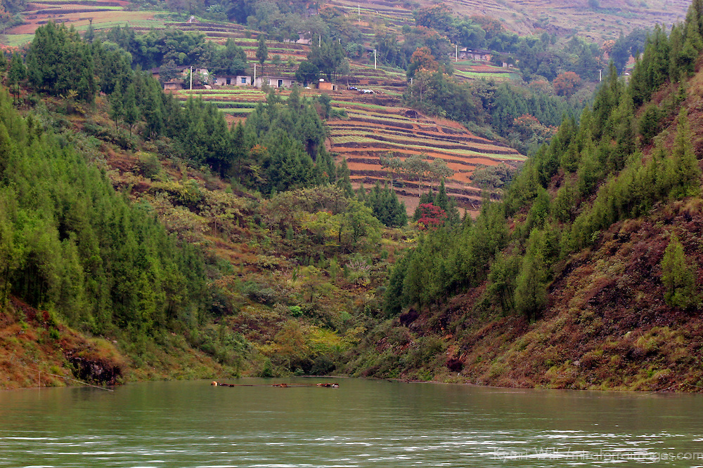 Asia, China, Yangtz River. Scene of rising waterline and landscape of the Yangtze River.
