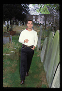 Actor Jean-Marc Barr (The Big blue) photographed in Hampstead cemetery. Kodachrome