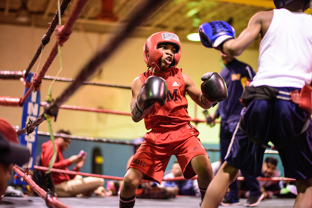 Baltimore, Maryland - January 26, 2017: Nieem &quot;The Brutal Machine&quot; Somerville, 10, spars at the Upton Boxing Club in West Baltimore Wednesday January 26, 2017. <br /> Upton Boxing Club is where Coach Calvin Ford, the inspiration for character Dennis &quot;Cutty&quot; Wise from &quot;The Wire,&quot; coaches. It's also the gym where Gervonta Davis, the current IBF junior lightweight champion, trains. Davis is undefeated (17-0) with 16 KOs. He also coaches dozens of amateurs and a few other professionals.<br /> <br /> CREDIT: Matt Roth for The New York Times<br /> Assignment ID: 30201545A