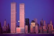 New York, New York City, Lower Manhattan Skyline Dusk, Hudson River Twin Towers of the World Trade Center, designed by Minoru Yamasak