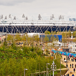 Visitors at the Olympic Stadium during the London prepares series at the Oympic park in London on May 6, 2012. The London Prepares series is the official London 2012 sports testing programme.