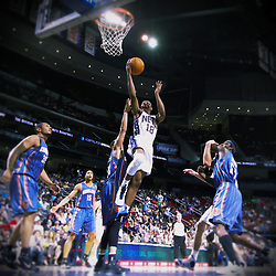 Apr 11; Newark, NJ, USA; New Jersey Nets guard Ben Uzoh (18) makes a layup during the first half at the Prudential Center.