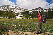 A hiker explores the Wheeler Peak Wilderness near Taos during the wildflower season.