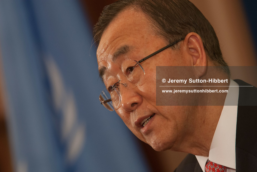 Ban Ki-moon, 8th Secretary-General  of the United Nations, at a press conference after summit on Afghanistan, in Tokyo, Japan, on Sunday 8 July 2012.