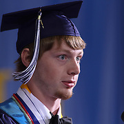 Delcastle Valedictorian Shawn Deel addresses students and audience members during Delcastle Forty-Sixth commencement exercises Tuesday, May 26, 2015, at The Bob Carpenter Sports Convocation Center in Newark, Delaware