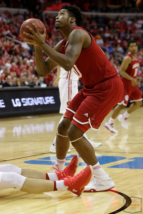 Indiana forward Freddie McSwain Jr. (21) in action as Indiana played Wisconsin in an NCCA college basketball game in the third round of the Big 10 tournament in Washington, D.C., Friday, March 10, 2017. (AJ Mast)