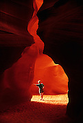 Image of Antelope Canyon at Slot Canyon in Arizona, American Southwest, Antelope Canyon-Lake Powell Navajo Tribal Park (model released)