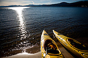 Kayaks sit on the shore of Lake Tahoe in Kings Beach, Calif., January 19, 2011.