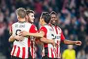 EINDHOVEN - PSV - SC Genemuiden , Voetbal , KNVB Beker , Seizoen 2015/2016 , Philips stadion , 25-10-2015 , PSV speler Gaston Pereiro (2e l) viert zijn doelpunt met PSV speler Luuk de Jong (l) PSV speler Hector Moreno (2e r) en PSV speler Nicolas Isimat-Mirin (r)
